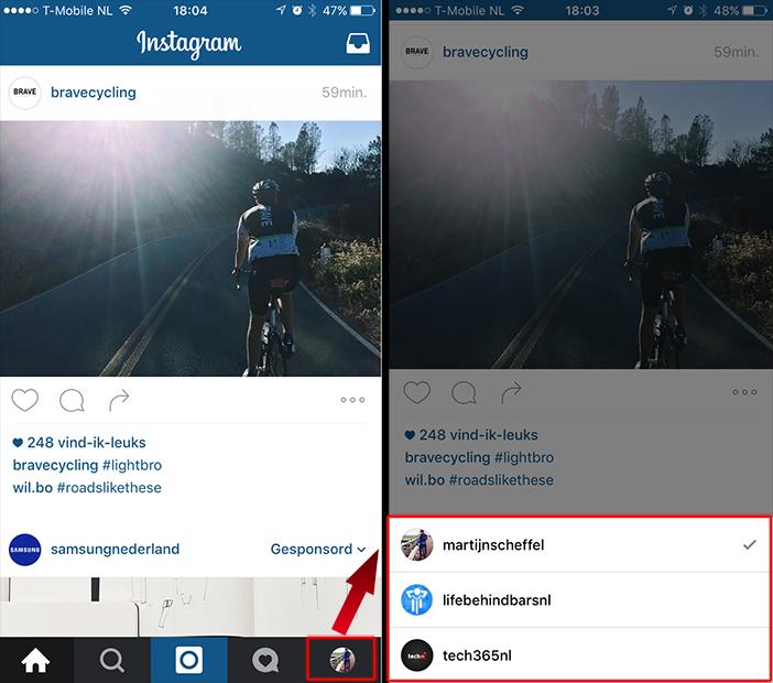 Instagram accounts wisselen