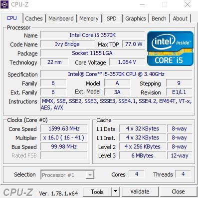 CPU-Z Intel i5 processor