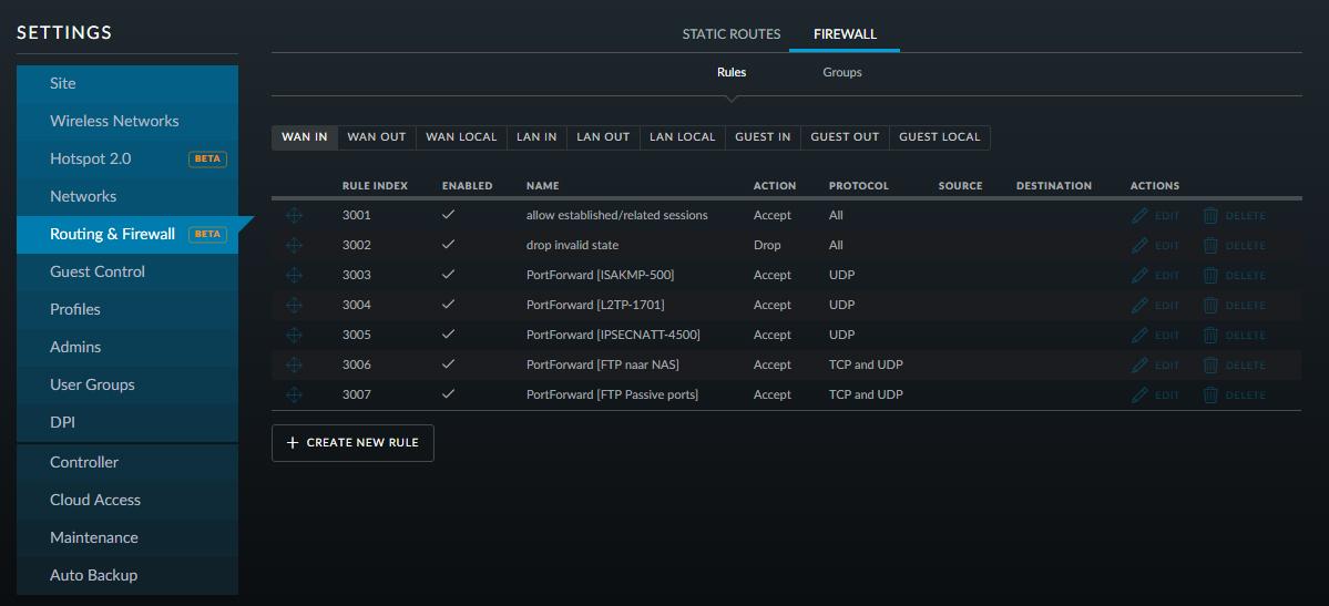 Ubiquiti UniFi USG Firewall settings