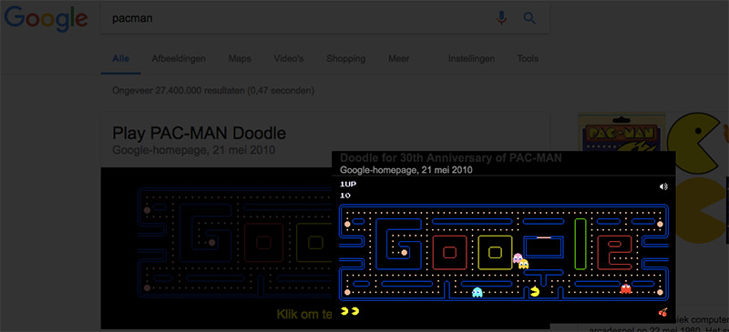 Google Easter Eggs - pacman