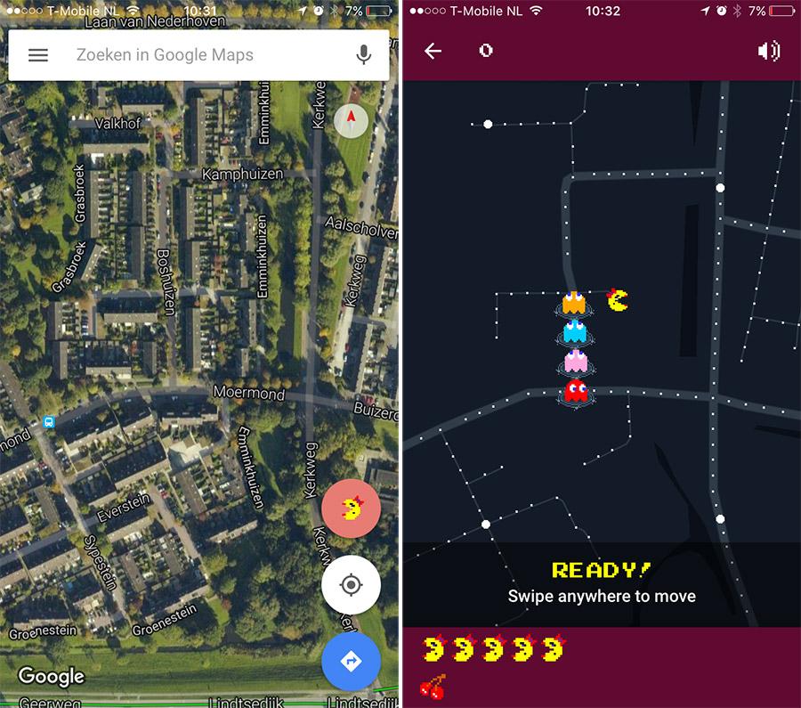 Ms PacMan 1 april Google Maps