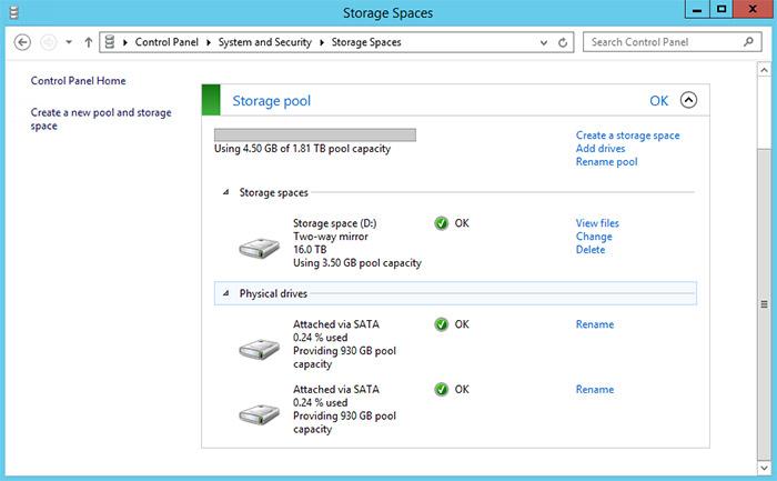 Thecus W2810 Pro Storage Pool 02