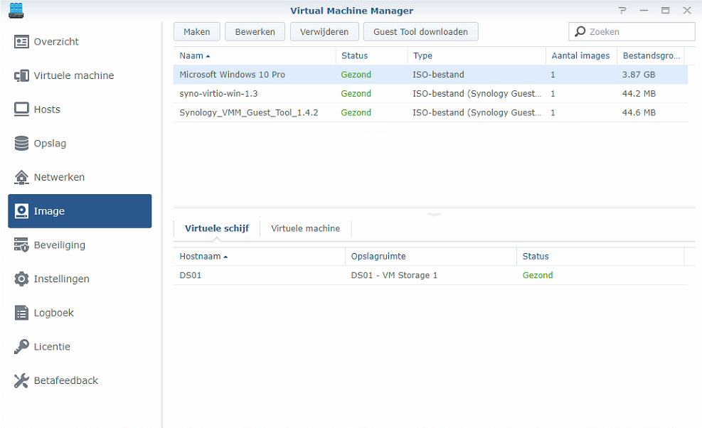 Synology Virtual Machine Manager nieuwe VM 01