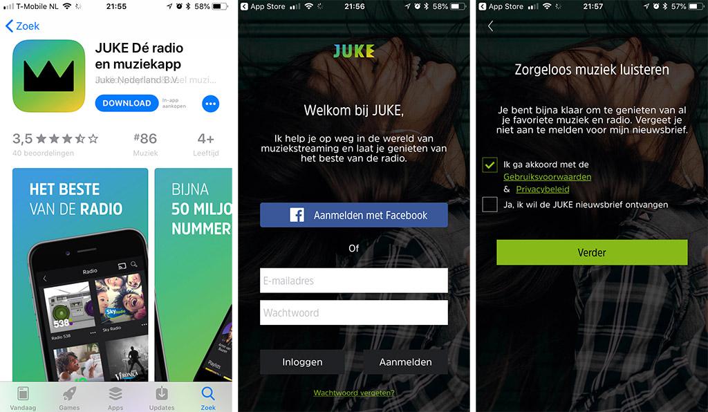 installatie JUKE app