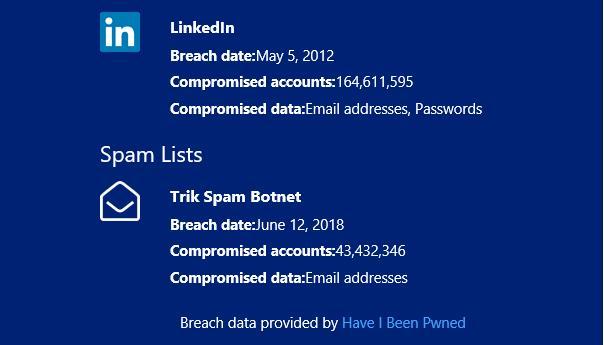 HIBP Firefox Monitor report