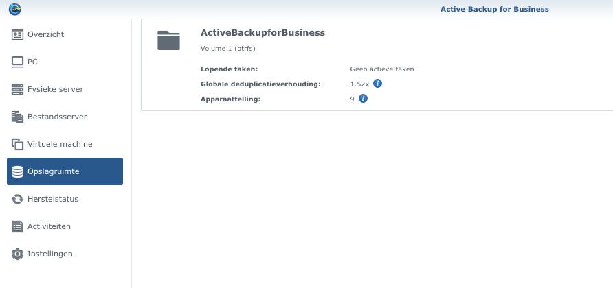 ActiveBackup opslag dedup