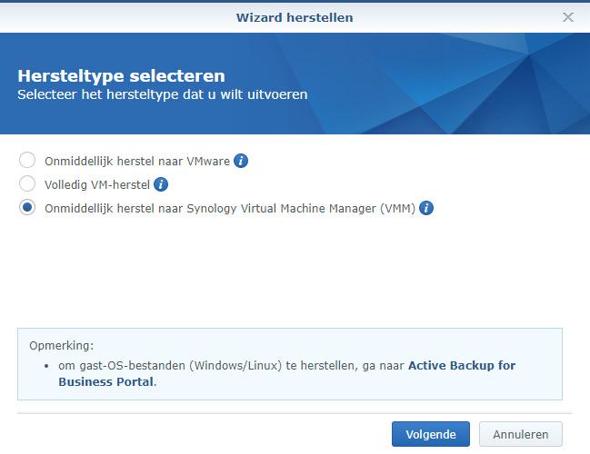 ActiveBackupVM Restore